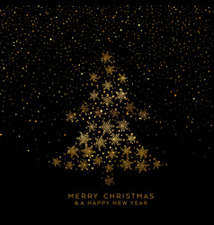 golden christmas tree snowflakes vector image