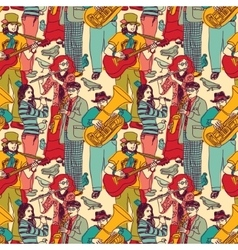 Group street musicians seamless color pattern vector image