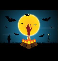 Halloween blood hand bonfire zombie moon bat tree vector