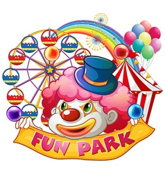 Happy clown with fun park banner vector