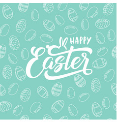 happy easter text with bunny and eggs for vector image