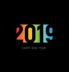 happy new 2019 year sign colorful negative space vector image