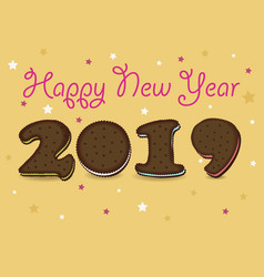 Happy new year 2019 chocolate cookies vector