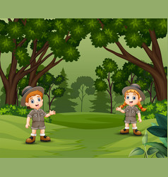 Happy scout kids talking and exploring forest vector