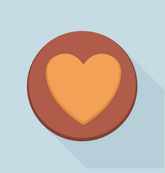Heart cookie icon flat style vector