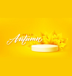 hello autumn product podium with autumn leaves vector image