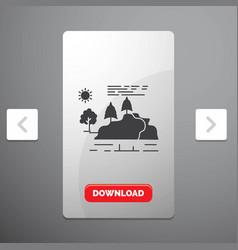 hill landscape nature mountain rain glyph icon in vector image