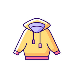 Home outfit with hoodie yellow rgb color icon vector