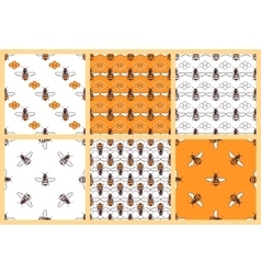 Honey and bees seamless patterns set vector image