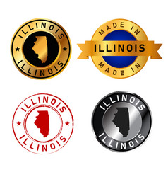 illinois badges gold stamp rubber band circle vector image