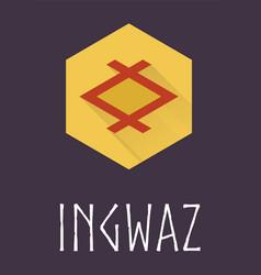Ingwaz rune of Elder Futhark in trend flat style vector