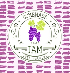 Jam label design template for grape dessert vector