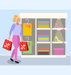 lady with purchase on discounts at boutique vector image