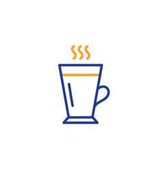 Latte line icon hot coffee or tea sign vector