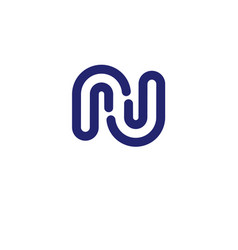 letter rj letter n logo design vector image