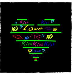 love hearts sketchy doodles design elements on vector image