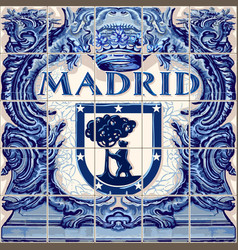 Madrid ceramic tiles blue souvenir vector