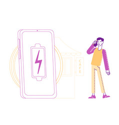 Male character speaking mobile phone near huge vector