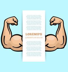 male muscle arms banner template vector image