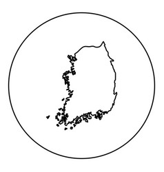 map of south korea icon black color in round vector image