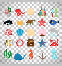 Marine life and cartoon ocean animals vector