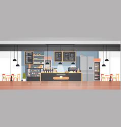 Modern cafe interior empty no people restaurant vector