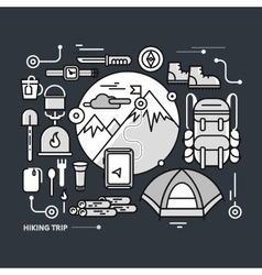 Mountains with Snow Peaks and Tourist Equipment vector