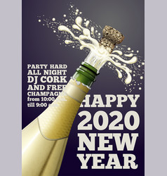new year banner with champagne bottle vector image