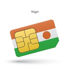 Niger mobile phone sim card with flag vector image