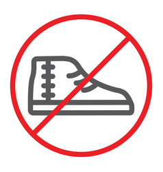 No footwear line icon prohibited and forbidden vector
