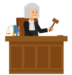 Old male judge read the law book at the court vector
