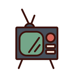 Old tv line and fill style icon vector