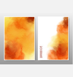 orange and yellow mixed watercolor background set vector image