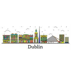 Outline dublin ireland city skyline with color vector