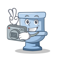 Photographer toilet character cartoon style vector