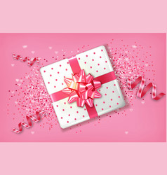 pink gift box realistic confeti and vector image