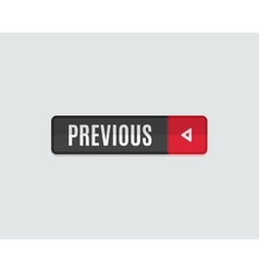 Previous web button flat design back vector image