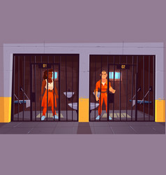 prisoners in orange jumpsuits in prison jail vector image