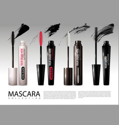 realistic cosmetic mascara collection vector image
