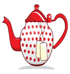 Retro red teapot vector