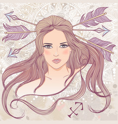 Sagittarius as a portrait of beautiful girl vector