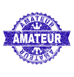 Scratched textured amateur stamp seal with ribbon vector