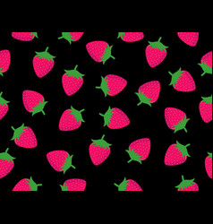 seamless pattern with strawberries on a black vector image