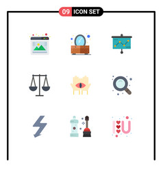 Set 9 modern ui icons symbols signs for medium vector
