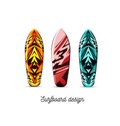 set designs for surfer boards on a white vector image