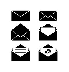 set of envelopes black icons vector image vector image