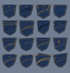 set of various pockets designs vector image