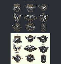 set vintage logo with eagle vector image