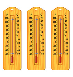 Set wooden thermometers at different levels vector