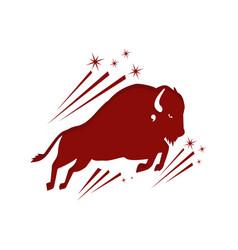 shilhoutte bull buffalo logo design simple vector image